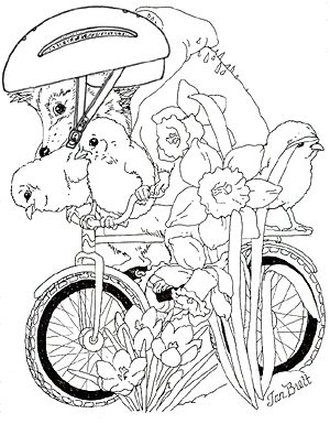 Hedgie Spring Coloring Page
