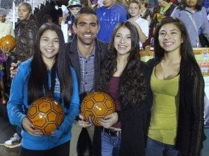 Austin da Luz and the girls after the game.