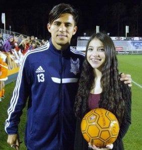 Mikaela with her favorite player Cesar Elizondo