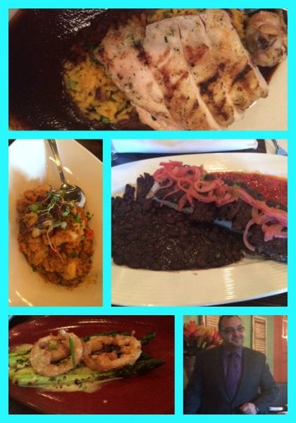 Chicken Imperial, Curried Quinoa, Vaca Frita, Grilled Aspargus with Fried Lemons and one of the awesome employees.