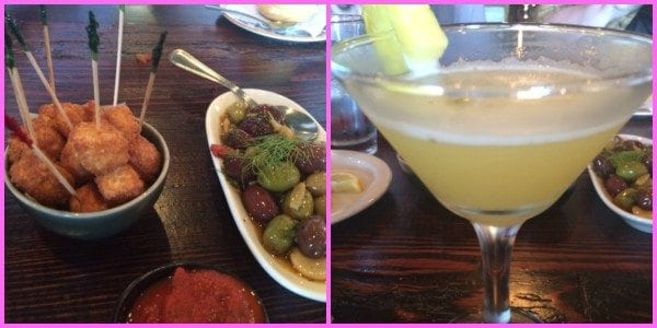 Fried Queso Blanco, Mixed Marinated Olives and a Pineapple Rumtini