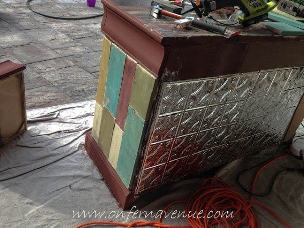 Baby Changing Dresser Turned Rustic Kitchen Island - HMLP 52 Feature