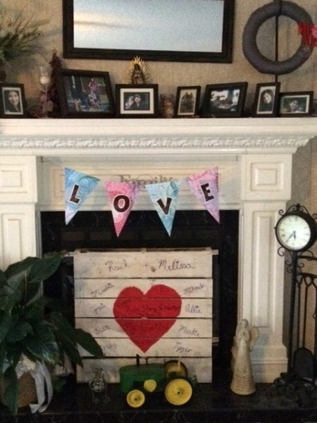 valentine's fireplace display