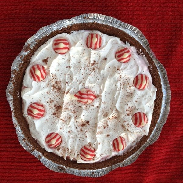 white chocolate and peppermint pie