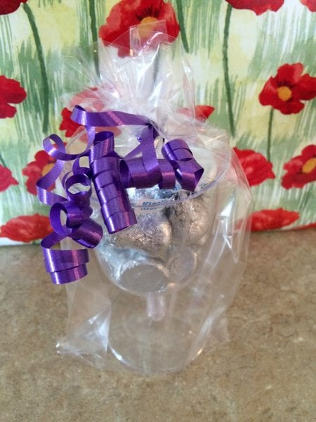 Champagne Flutes and Chocolates in bag