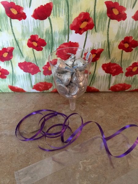 champagne glasses with bag