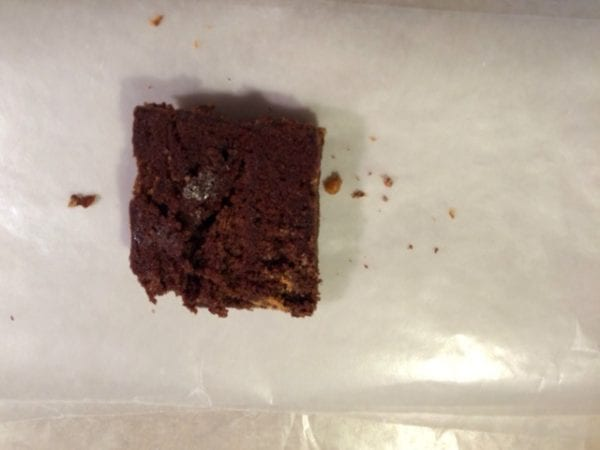 brownie on wax paper