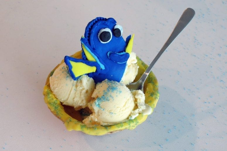 Finding Dory Inspired Chocolate Covered Ice Cream Waffle Bowl