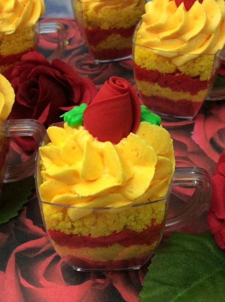 Belle Teacup cupcakes edible rose