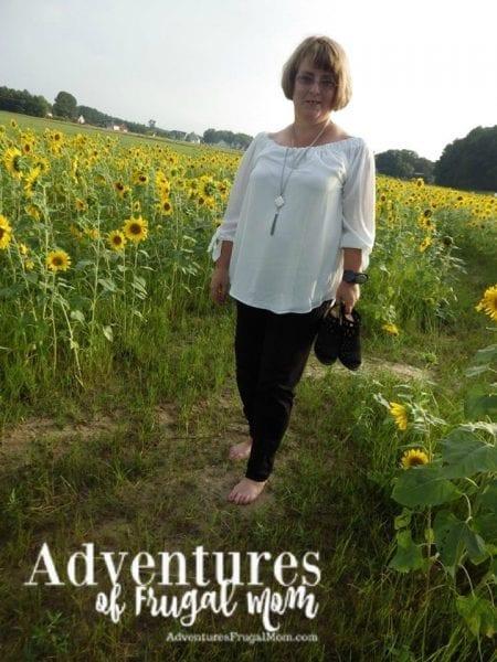 walking in Sunflower field