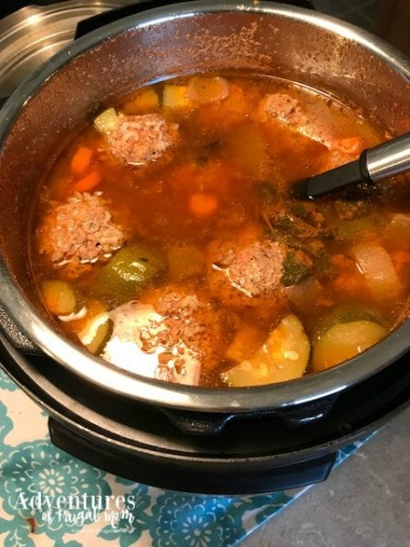 How to Make Albondigas in an Instant Pot finished product in pot